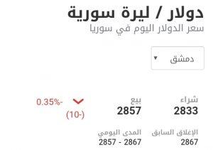 سعر الدولار في مدينة دمشق عند إغلاق يوم الأحد 10 كانون الثاني