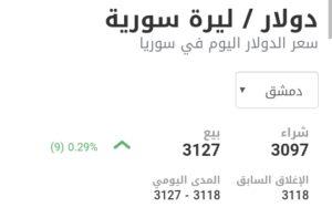 سعر الدولار في مدينة دمشق عند إغلاق يوم السبت 6 شباط