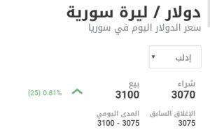 سعر الدولار في مدينة إدلب عند إغلاق يوم السبت 6 شباط