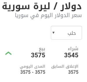 سعر الدولار في مدينة حلب عند إغلاق يوم الخميس 25 شباط